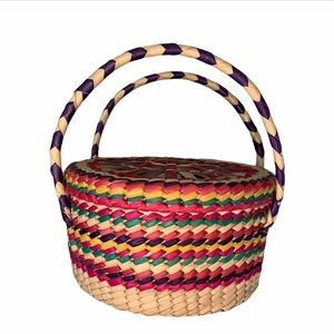 Multi-Color Woven Basket with Lid and Handles